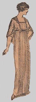 Vintage 1910s Edwardian Titanic Era Lady Mary Empire Waist Tea Gown Dress REPRO Sewing Pattern 8109 B38