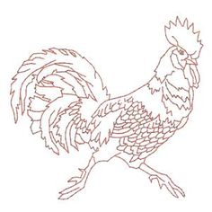 Redwork Rooster Machine Embroidery Design