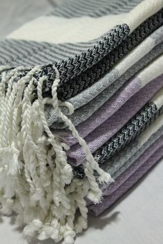 New colours just arrived #corsicatowel in dove grey, navy and orchid