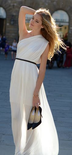Grecian one shoulder dress. This obviously had to go on my greece board. it is short but with a long cover, LOVE
