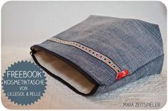 Kosmetiktasche aus alten Jeans / Zippered pouch made from old pair of jeans / Upcycling