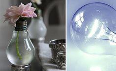 Original florero hecho con una bombita de luz