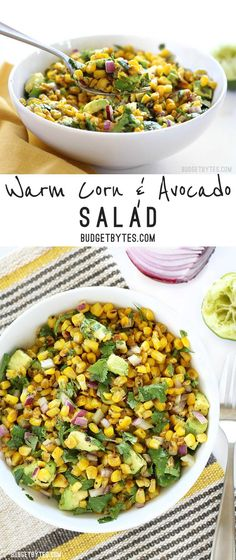Warm Corn and Avocado Salad makes the perfect light and fresh side for enchiladas, grilled meats, or tacos. www.budgetbytes.com