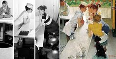 Left: Reference photos for 'Soda Jerk' by Norman Rockwell, 1953. Photos by Gene Pelham. Photo montage created by Ron Schick. Right: 'Soda Jerk,' Norman Rockwell, 1953. Rockwell's son, Tom, is reportedly the inspiration for this painting. Tom worked as a soda jerk one summer.
