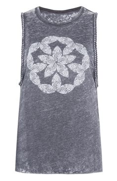 Primark - Camiseta gris con sisa trenzada