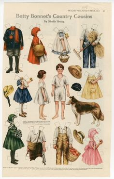 Betty Bonnet's Country Cousins  paper doll  1917  Artist	:  Sheila Young