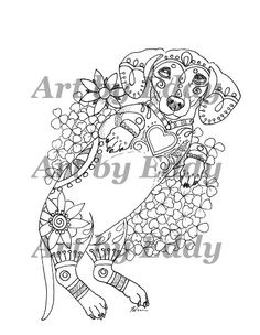 Art of Dachshund Coloring Book Volume No.2 by ArtByEddy on Etsy