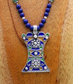 Berber Enameled Hourglass Pendant Necklace by SilkRoadJewelry