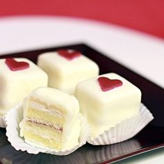 Petits Fours: little boxes of love and a recipe for milk custard buttercream.