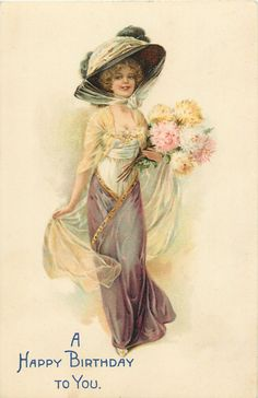 pretty girl in large hat, brown skirt, looks & walks front, dahlias in left hand