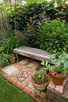 23 easy to make ideas building a small backyard seating area create a diy garden bench using items you already have at home Backyard Seating, Small Backyard Landscaping, Backyard Patio, Landscaping Ideas, Small Patio, Backyard Ideas, Patio Ideas, Outdoor Seating, Diy Garden Seating