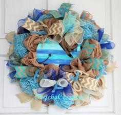 Summer Ocean Burlap Wreath Whale Wreath  Burlap by PsychoCreators