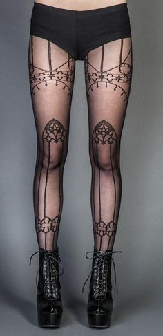 Lip Service Pentgram Tights Punk Gothic Cyber Cosplay Kawaii 26 070 | eBay Cathedral Tights