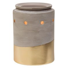 NEW! Urban Luster Scentsy Warmer PREMIUM ~ Perfect with salvaged wood and exposed steel, or soft linens and your grandmother's antique armoire. Cement-finish stoneware, dipped in metallic-gold glaze.