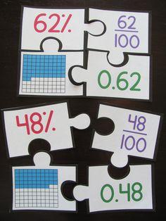 Fractions Decimals and Percents puzzles!!