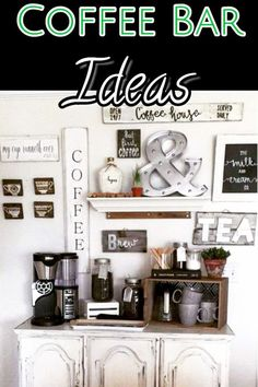 LOVE all these coffee bar ideas for my kitchen! I REALLY love the farmhouse style coffee bars! #kitchendecor #kitchendecorideas #kitchenideas #farmhousekitchen #farmhousestyle #houseideas #diyhomedecor #diyhome #coffeebarideas #coffeestation #houseideas #diyroomdecor #kitchendesignideas #farmhouse