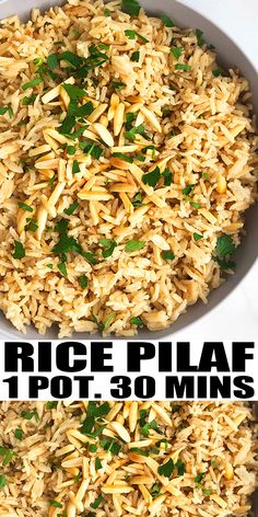 RICE PILAF RECIPE- Quick and easy rice with orzo, homemade with simple ingredients in one pot over stovetop in 30 minutes. Flavored with Italian seasoning and parmesan cheese and topped off with some. Rice Pilaf With Orzo, Easy Rice Pilaf, Wild Rice Pilaf, Salmon Rice Pilaf Recipe, Rice Pilaf Recipe Almonds, Rice Pilaf Seasoning Recipe, Almond Rice Recipe, Chicken Pilaf Recipe, Gluten Free Recipes