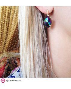 Kendra Scott Pippa Earrings in Black Iridescent. Coming July 16!