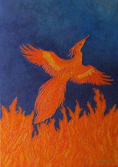 "Saatchi Art Artist Liza Wheeler; Painting, ""Fire of Creation - abstract rebirth of phoenix"" #art"