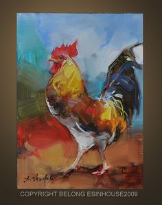 Oil Painting Rooster Art Chicken Hen Barn Cock 5X7 by Deny2011