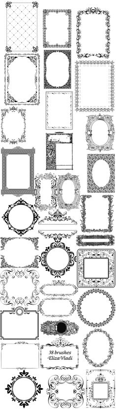 Beautiful free brushes (ABR): Royal Design frames by ~ElizaVladi (Need To Try Design Studios) Vintage Printable, Printable Labels, Vintage Labels, Free Printables, Printable Frames, Labels Free, Images Vintage, Vintage Diy, Vintage Frames