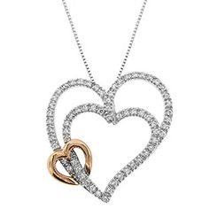 Two-Tone 14K Pink Gold Silver Diamond Double Heart Necklace Jewelry Available Exclusively at Gemologica.com