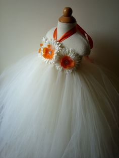 flower girl dress, ivory dress, orange, toddler tutu dress, baby tutu dress, wedding, birthday, newborn,2t,3t,4t,5t