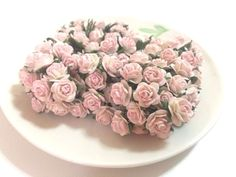 20 Mini Light Pink Roses Mulberry Paper Flowers Wedding Card Scrapbook Dolls 1cm #Handmade