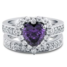 Heart Halo Ring Set with Cubic Zirconia in Sterling Silver