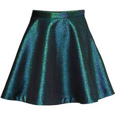H&M Metallic skirt (215 ARS) ❤ liked on Polyvore featuring skirts, bottoms, saias, faldas, h&m, petrol, short blue skirt, blue metallic skirt, blue skirt and blue skater skirt