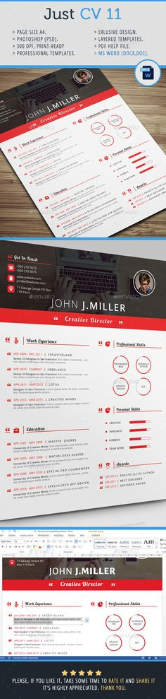 Just CV 11 — Photoshop PSD #cv design #curriculum vitae • Available here → https://graphicriver.net/item/just-cv-11/11883066?ref=pxcr
