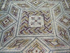 Roman mosaics in Conimbriga ruins, Portugal