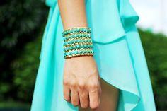 #blue #gold #turquoise #bracelet