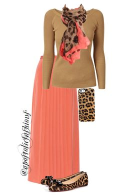 A fashion look from January 2016 featuring off-shoulder sweaters, pleated maxi skirt and leopard print shoes. Browse and shop related looks. Modest Dresses, Modest Outfits, Skirt Outfits, Fall Outfits, Cute Outfits, Casual Outfits, Church Outfits, Summer Outfits, Apostolic Clothing