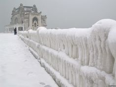 """theseromaniansarecrazy: """" Winter has come to the Black Sea, Constanta, Romania. """" Maybe the most beautiful winter photograph we've ever posted. The casino of Constanta in the winter… Macedonia, Albania, Montenegro, Wonderful Places, Beautiful Places, Amazing Places, Constanta Romania, Chateau Medieval, Places To Travel"""