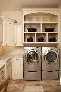 shelf over washer and dryer | Shelves over a washer and dryer on pedastels. | Home