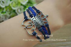 Crown Love Heart bracelet Navy Blue wax rope Blue by Evanworld, $3.99 Beautiful handmade bracelet, a gift.