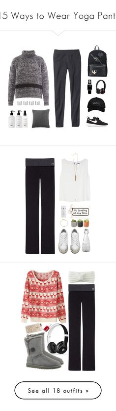 """15 Ways to Wear Yoga Pants"" by polyvore-editorial ❤ liked on Polyvore featuring yogapants, waystowear, Rochas, NIKE, Athleta, Ralph Lauren, Balmain, Maison Margiela, Casetify and Beats by Dr. Dre"