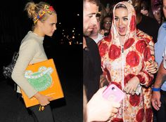 Cara Delevingne Carries a Pizza Box Clutch the Day After Katy Perry Dresses Up in a Pepperoni Jumpsuit  Katy Perry, Cara Delevingne