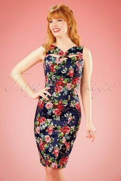 50s Etta Floral Pencil Dress in Navy | Retrojurk.nl