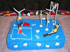 What a cool cake for a gymnastics bday party!