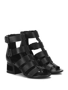 VIC MATIE - Sandalo alto - Donna - Sandalo alto in pelle con zip su retro e doppio cinturino alla caviglia. Suola in cuoio, tacco 50 lavorato. - BLACK - € 295.00