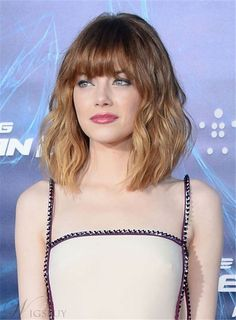 Layered Messy Wavy Bangs Mid-Length Human Hair Capless Wigs 12 Inches