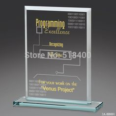 Fashion popular high quality best selling new design Jade glass trophy glass plaque award(China (Mainland))