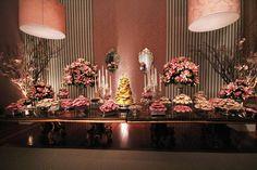 Mesa de doces rosa
