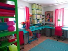 Like this, but it is too much color for my art room which is already Kiwi green and I would not like to see under the desks, but otherwise I love the organization and workspace