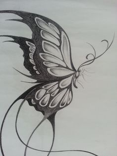 pencil-sketches-of-butterflies-on-flowers-original-design-of-a-large-butterfly-t. - pencil-sketches-of-butterflies-on-flowers-original-design-of-a-large-butterfly-things-i-like. Pencil Sketch Drawing, Pencil Art Drawings, Sketch Art, Art Drawings Sketches, Drawing Faces, Tattoo Sketches, Cool Drawings, Tattoo Drawings, Tattoo Ink