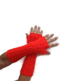 FREE SHiPPiNG Red Long Fingerless Gloves Armwarmers  by NesrinArt,