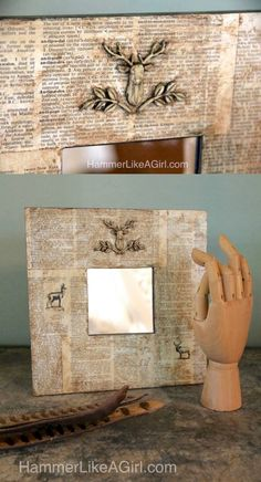 Learn how to decorate a mirror using Mod Podge and your favorite Mod Molds. I especially love the antique wax for a unique aged look! Diy Old Books, Old Book Crafts, Wood Crafts, Decoupage On Canvas, Decoupage Ideas, Creative Crafts, Fun Crafts, Creative Ideas, Mod Melts