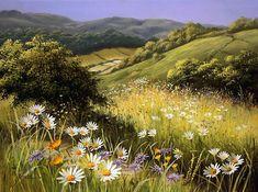 Summer wildflowers by British artist Mary Dipnall Watercolor Landscape, Landscape Art, Watercolor Flowers, Landscape Paintings, Watercolor Art, Fine Art, Art Techniques, Beautiful Landscapes, Art Pictures